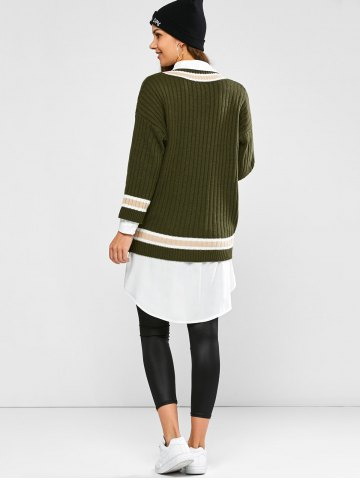 Outfits Batwing Ribbed Cricket Sweater - ONE SIZE ARMY GREEN Mobile