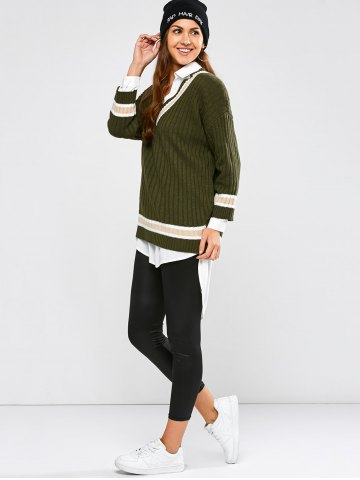 Latest Batwing Ribbed Cricket Sweater - ONE SIZE ARMY GREEN Mobile