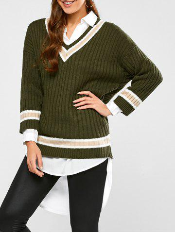 Buy Batwing Ribbed Cricket Sweater ARMY GREEN ONE SIZE