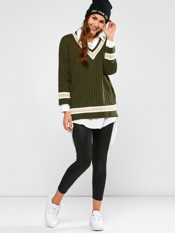 Outfit Batwing Ribbed Cricket Sweater - ONE SIZE ARMY GREEN Mobile
