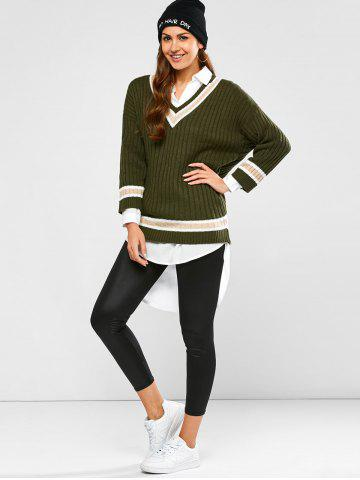 Chic Batwing Ribbed Cricket Sweater - ONE SIZE ARMY GREEN Mobile