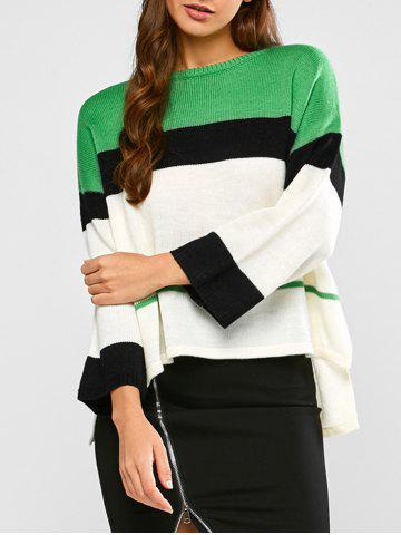 Chic Color Block Striped High Low Sweater