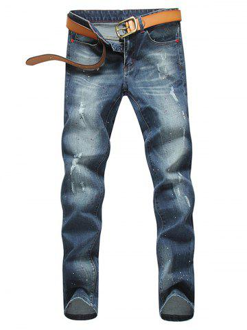 Affordable Zip Fly Paint Splatter Distressed Jeans - 33 BLUE Mobile
