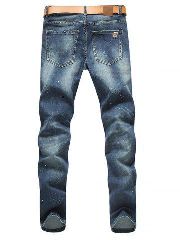 Fashion Zip Fly Paint Splatter Distressed Jeans - 34 BLUE Mobile