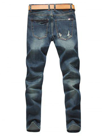 Best Tapered Fit Zip Fly Distressed Jeans - 33 BLUE Mobile