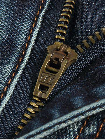 Shops Tapered Fit Zip Fly Distressed Jeans - 33 BLUE Mobile