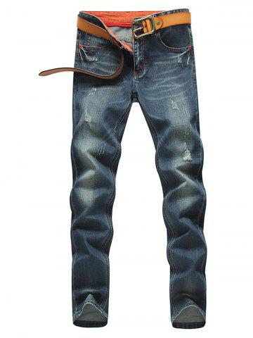 Hot Tapered Fit Zip Fly Distressed Jeans - 33 BLUE Mobile