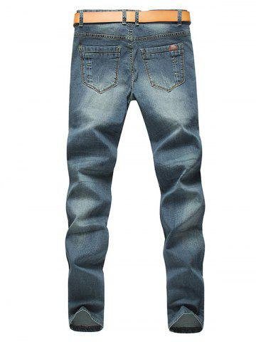 Fashion Tapered Fit Zip Fly Mid Waisted Jeans - 36 BLUE Mobile