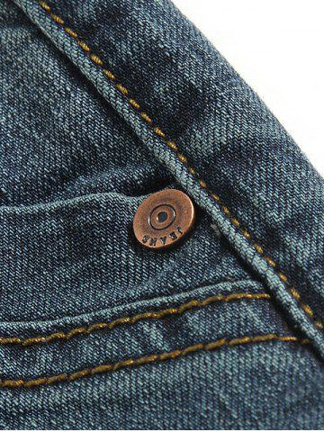 New Tapered Fit Zip Fly Mid Waisted Jeans - 33 BLUE Mobile