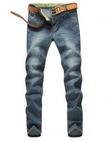 New Tapered Fit Zip Fly Mid Waisted Jeans - 32 BLUE Mobile