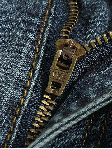 Hot Tapered Fit Zip Fly Mid Waisted Jeans - 30 BLUE Mobile