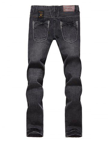 Outfits Slim Fit Zip Fly Low Waisted Jeans - 33 DEEP GRAY Mobile