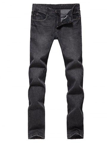 Outfits Slim Fit Zip Fly Low Waisted Jeans - 34 DEEP GRAY Mobile