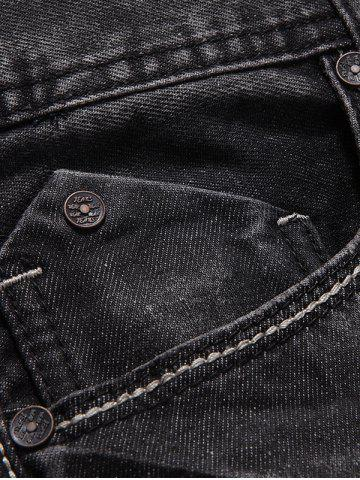 Hot Slim Fit Zip Fly Low Waisted Jeans - 32 DEEP GRAY Mobile
