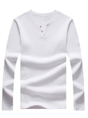 Buy Long Sleeve Notch Neck Button Tee WHITE 5XL