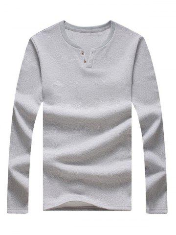 Unique Long Sleeve Notch Neck Button Tee - 4XL LIGHT GREY Mobile