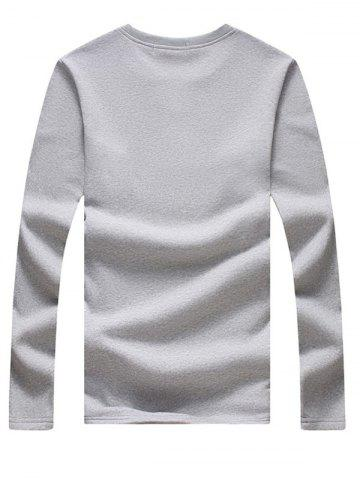 Best Long Sleeve Notch Neck Button Tee - 4XL LIGHT GREY Mobile