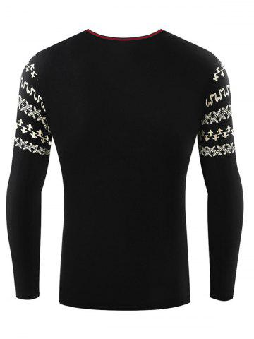 Discount Metallic Bull Embellished Abstract Printed Sleeve Tee - 2XL BLACK Mobile