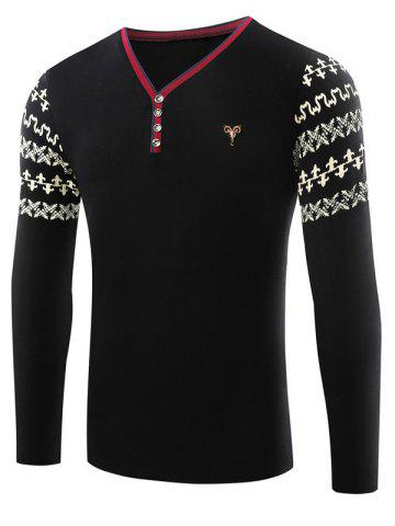 Affordable Metallic Bull Embellished Abstract Printed Sleeve Tee - L BLACK Mobile