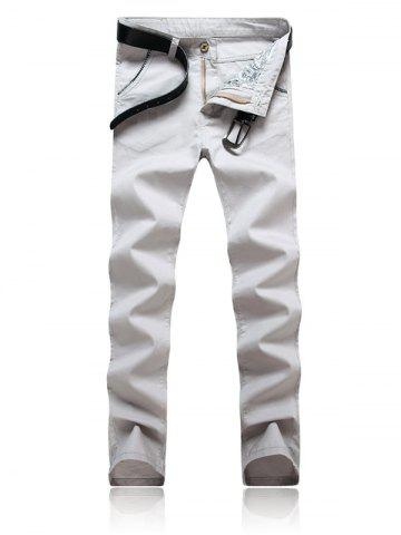 New Trimmed Pocket Zipper Fly Tapered Pants GRAY 38