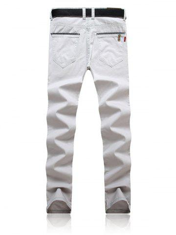 Chic Trimmed Pocket Zipper Fly Tapered Pants - 34 GRAY Mobile