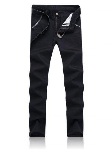 Cheap Trimmed Pocket Zipper Fly Tapered Pants - 38 BLACK Mobile