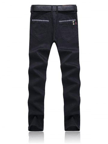 Outfit Trimmed Pocket Zipper Fly Tapered Pants - 38 BLACK Mobile