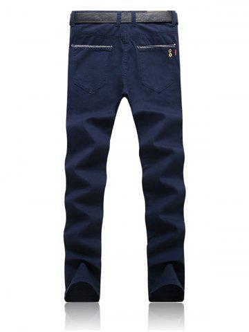 Outfits Trimmed Pocket Zipper Fly Tapered Pants - 32 ROYAL Mobile