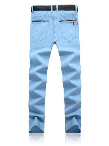 Trendy Trimmed Pocket Zipper Fly Tapered Pants - 32 AZURE Mobile
