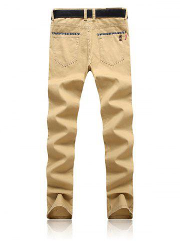 Discount Trimmed Pocket Zipper Fly Tapered Pants - 38 KHAKI Mobile