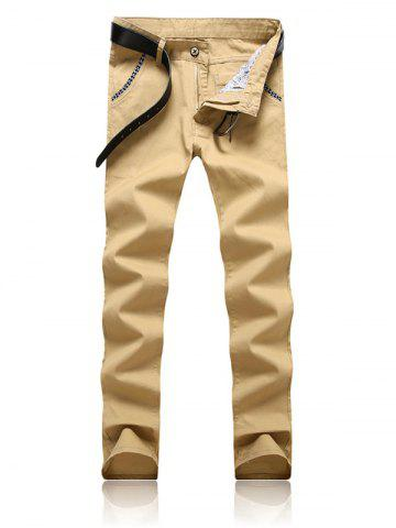 Fancy Trimmed Pocket Zipper Fly Tapered Pants - 34 KHAKI Mobile
