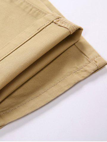 Chic Trimmed Pocket Zipper Fly Tapered Pants - 34 KHAKI Mobile