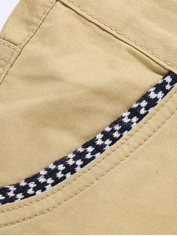 Chic Trimmed Pocket Zipper Fly Tapered Pants - 32 KHAKI Mobile