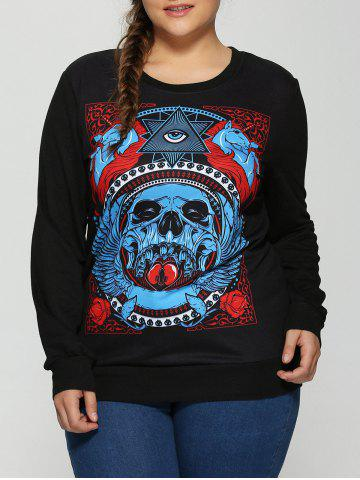 Online Halloween 3D Eye Skulls Print Sweatshirt BLACK 5XL
