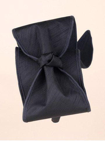 Chic Tie Wide Bowknot Wrap Headband - BLACK  Mobile