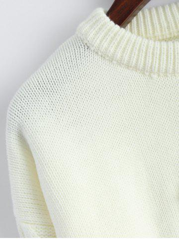 Outfit Patched Crew Neck Faux Pearl Sweater - ONE SIZE OFF-WHITE Mobile