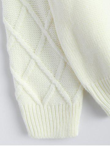 Chic Patched Crew Neck Faux Pearl Sweater - ONE SIZE OFF-WHITE Mobile