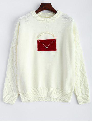 Store Patched Crew Neck Faux Pearl Sweater - ONE SIZE OFF-WHITE Mobile