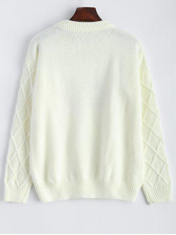 Shop Patched Crew Neck Faux Pearl Sweater - ONE SIZE OFF-WHITE Mobile