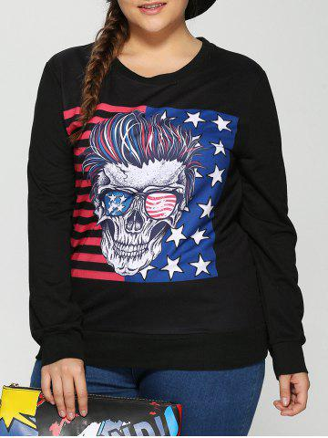 New American Flag Skulls Print Halloween Sweatshirt