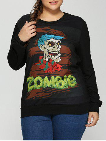 Trendy Plus Size Halloween Skulls Print Sweatshirt BLACK 5XL