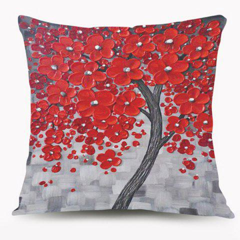 Discount Oil Paint Flower Tree Cushion Throw Pillow Case