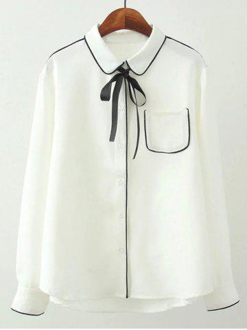 Fancy Plus Size Piped Tie Neck Pocket Shirt