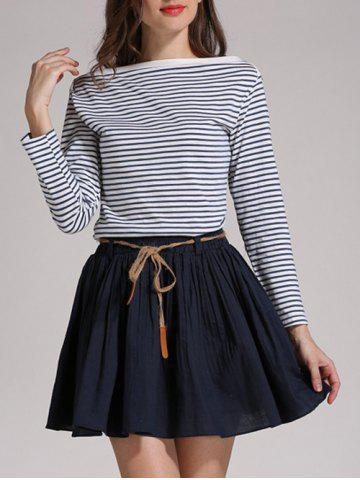 Trendy Boat Neck Striped Long Sleeves Tee