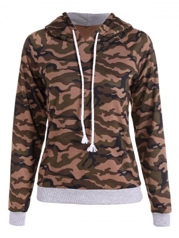 Trendy Pullover Camo Print Drawstring Hoodie ARMY GREEN CAMOUFLAGE 2XL