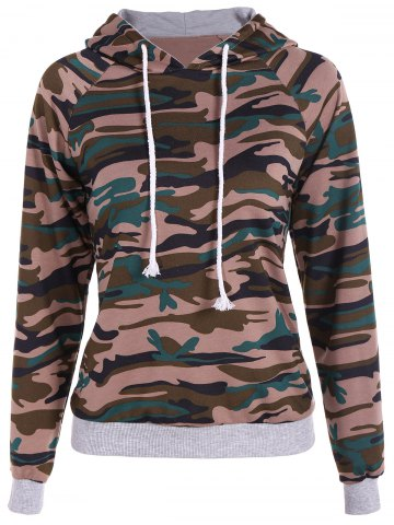 Online Pullover Camouflage Print Panel Hoodie