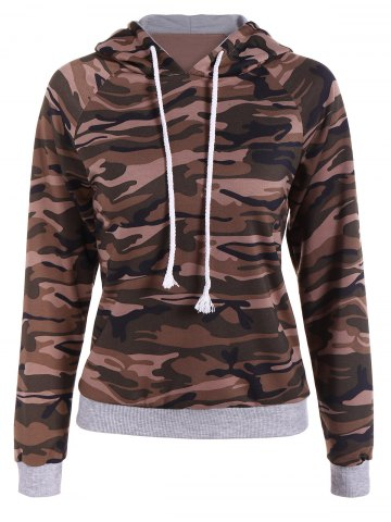 Cheap Pullover Camo Print Panel Hoodie