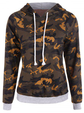 Latest Drawstring Camo Print Panel Hoodie CAMOUFLAGE COLOR 2XL