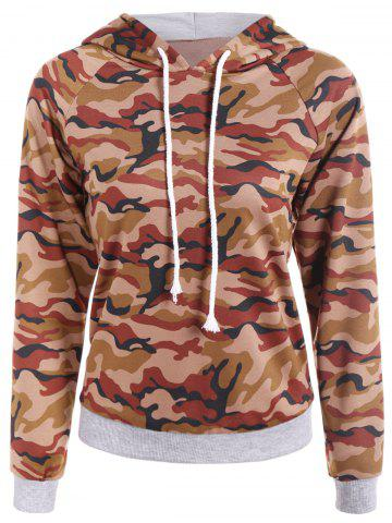 Shop Camouflage Print Drawstring Hoodie CAMOUFLAGE COLOR 2XL
