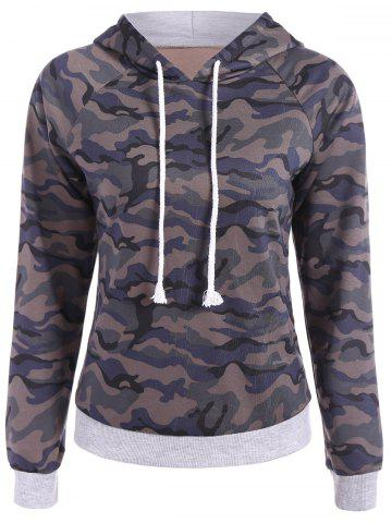 Fancy Drwastring Camouflage Print Panel Hoodie CAMOUFLAGE COLOR 2XL